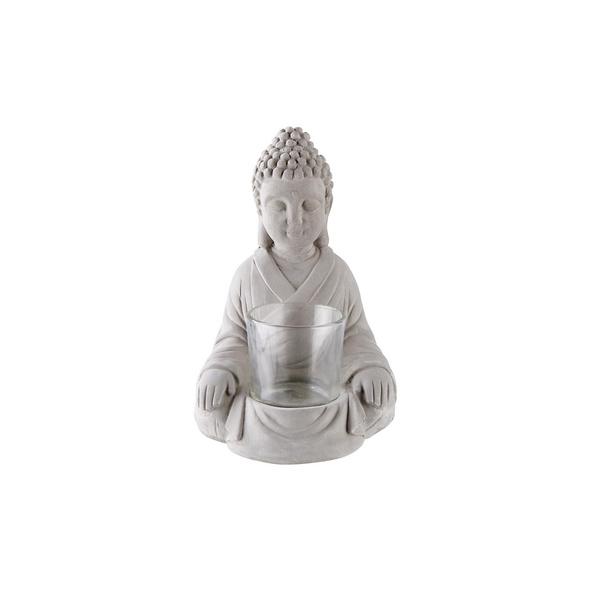 BUDDHA Teelichthalter aus Zement, grau