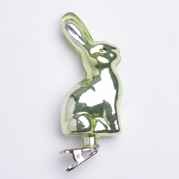EASTER Clip Häschen aus Glas, grün