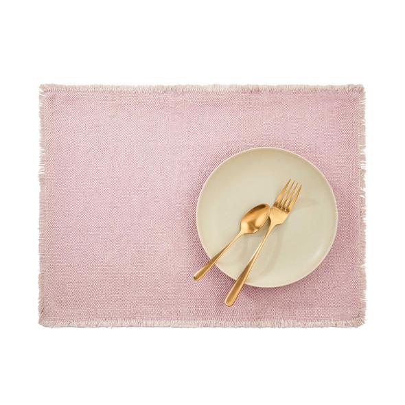RAW CANVAS Platzset mit Fransen, rosa