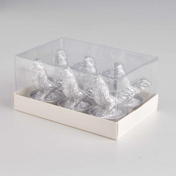 FLAMBEAU Teelicht Hahn, 6 Stück, silber