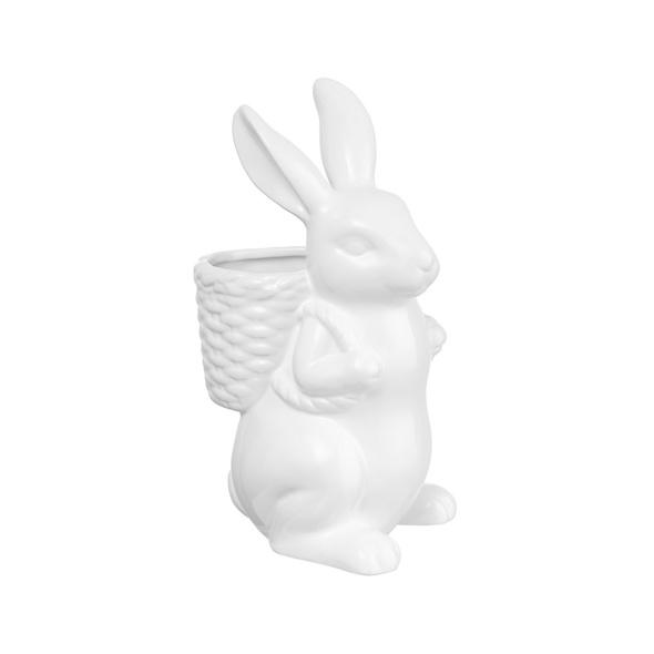 EASTER Keramik mit Korb weiß 24cm