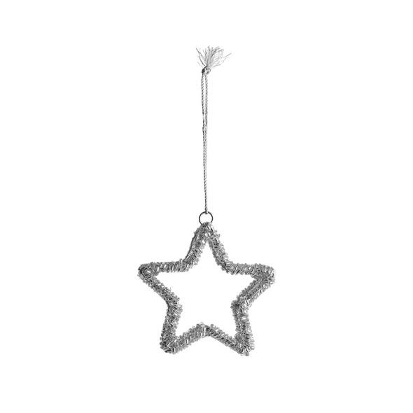 HANG ON 3D Perlen Stern 8cm, silber