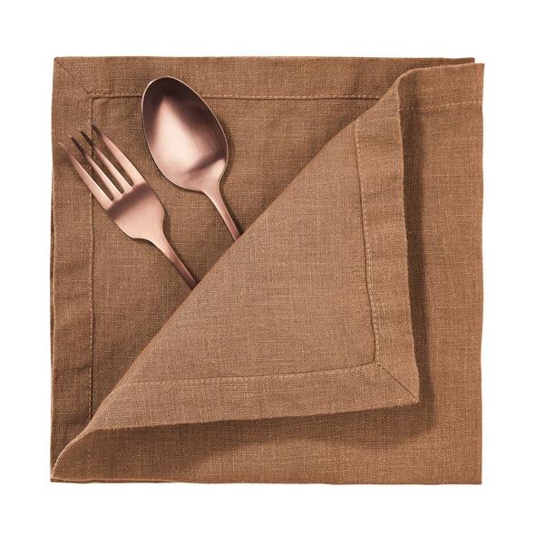 RIGA Leinen Serviette, 42x42 cm, Zimt