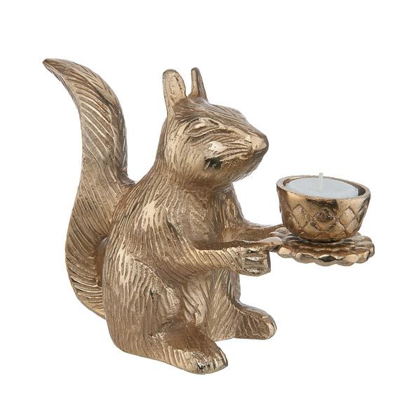 GOLDEN NATURE Eichhörnchen mit Teelicht