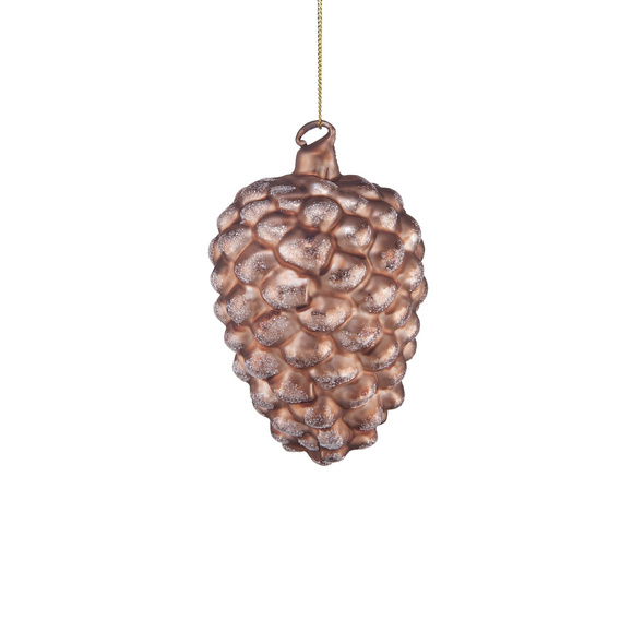 HANG ON Glas Ornament Zapfen gold/braun