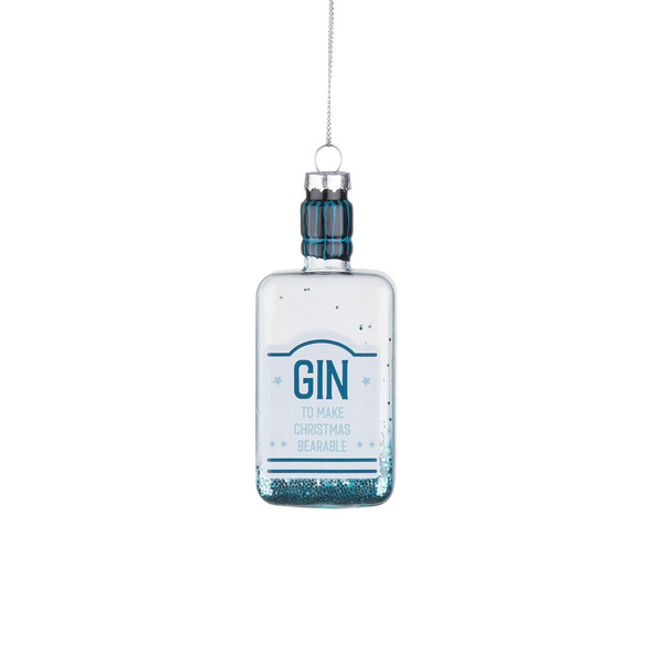 HANG ON  Glas Ornament Gin Flasche, blau