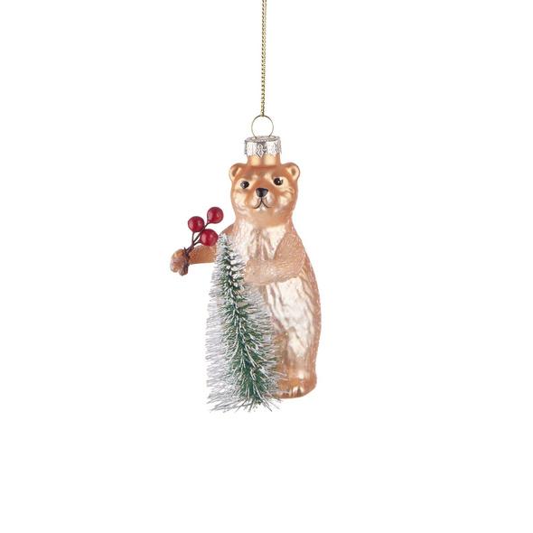 HANG ON  Glas Ornament Bär mit Tanne