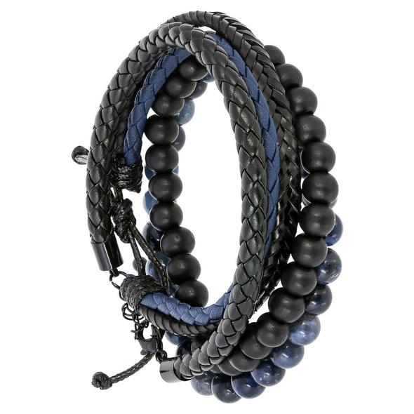 Herren Armband-Set -  Blue Leather