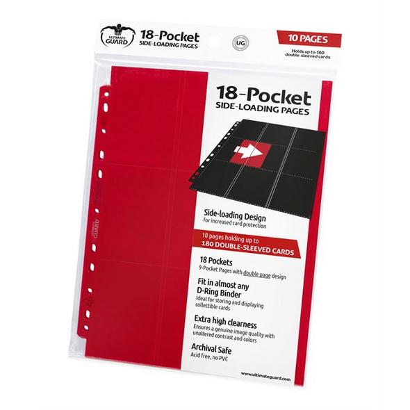 Ultimate Guard: Ordnerseiten mit 18-Taschen Side-Loading Rot