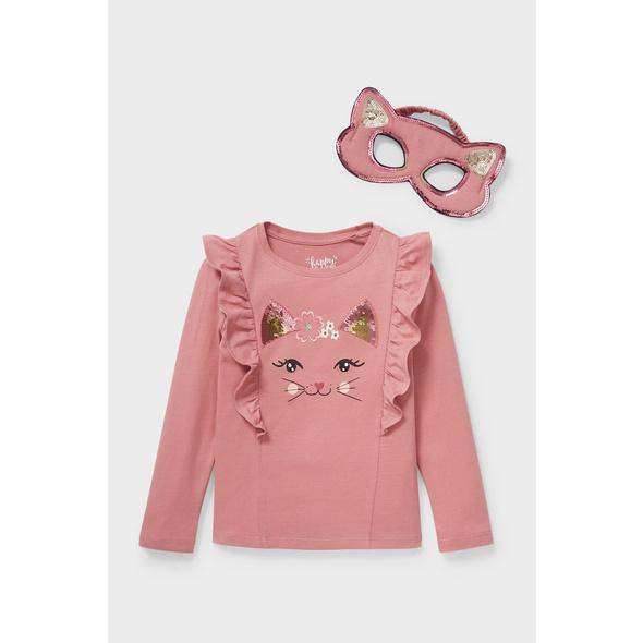 Set - Langarmshirt und Katzenmaske - Bio-Baumwolle - 2 teilig