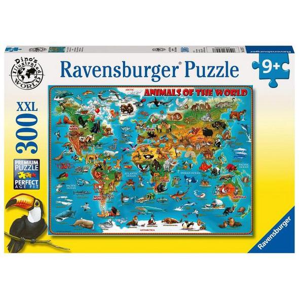 Ravensburger 13257 - Animals of the world, Tiere rund um die Welt, Puzzle, Kinderpuzzle,XXL