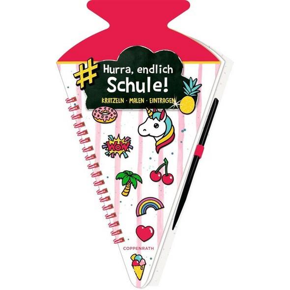 Schultüten-Kratzelbuch - Funny Patches - Hurra, endlich Schule! (pink)