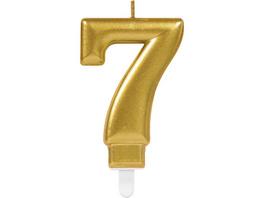 Zahlenkerze 7 Sparkling Celebrations Gold Hoehe 9,3 cm