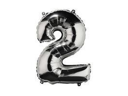 """UPPER CLASS Folienballon silber """"2"""""""