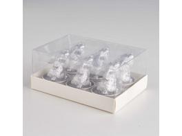 FLAMBEAU Teelicht Hase, 6 Stück, silber
